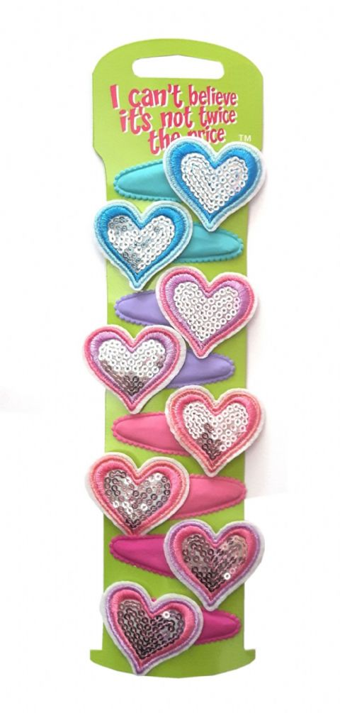 8 Pastel Heart Sequin Sleepin Hair Clip Snap in on Clips